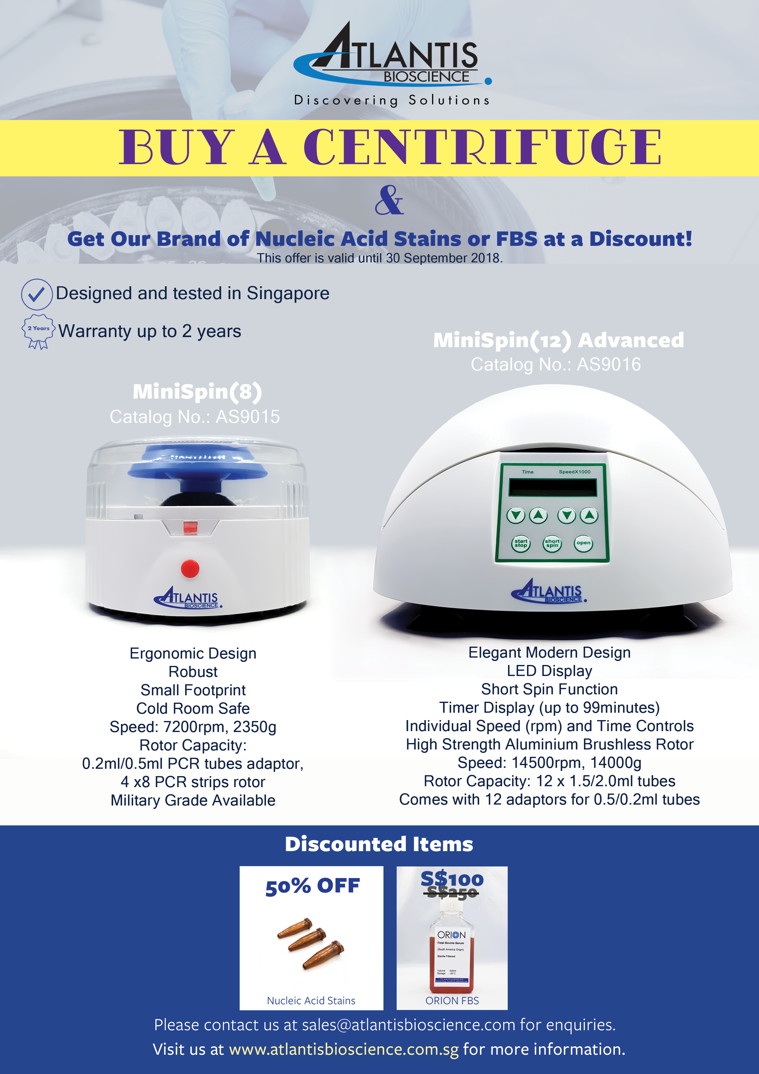 Sept'18- Our own house brand of centrifuges!